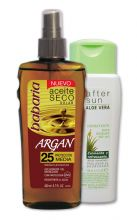 Babaria Argan Dry Sun Oil SPF25 UVA/UVB protection 200ml + free 150ml After Sun